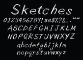Chalk sketch alphabet — Stockvector