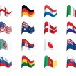 Countries flag icons, world cup 2010 south africa — Stock Vector