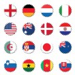 Stock Vector: Countries flags badges stickers
