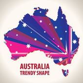 Australia trendy shape — Stock Vector