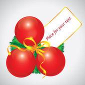 Three Red Christmas balls card — Stock Vector