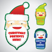 Set of Christmas faces on badges — Stock Vector