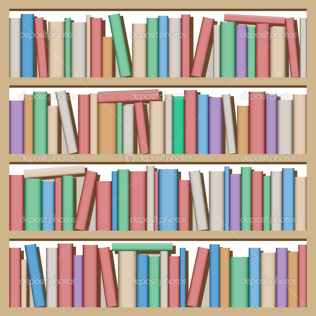 Lots of Books on Shelf — Stock Vector #6751571