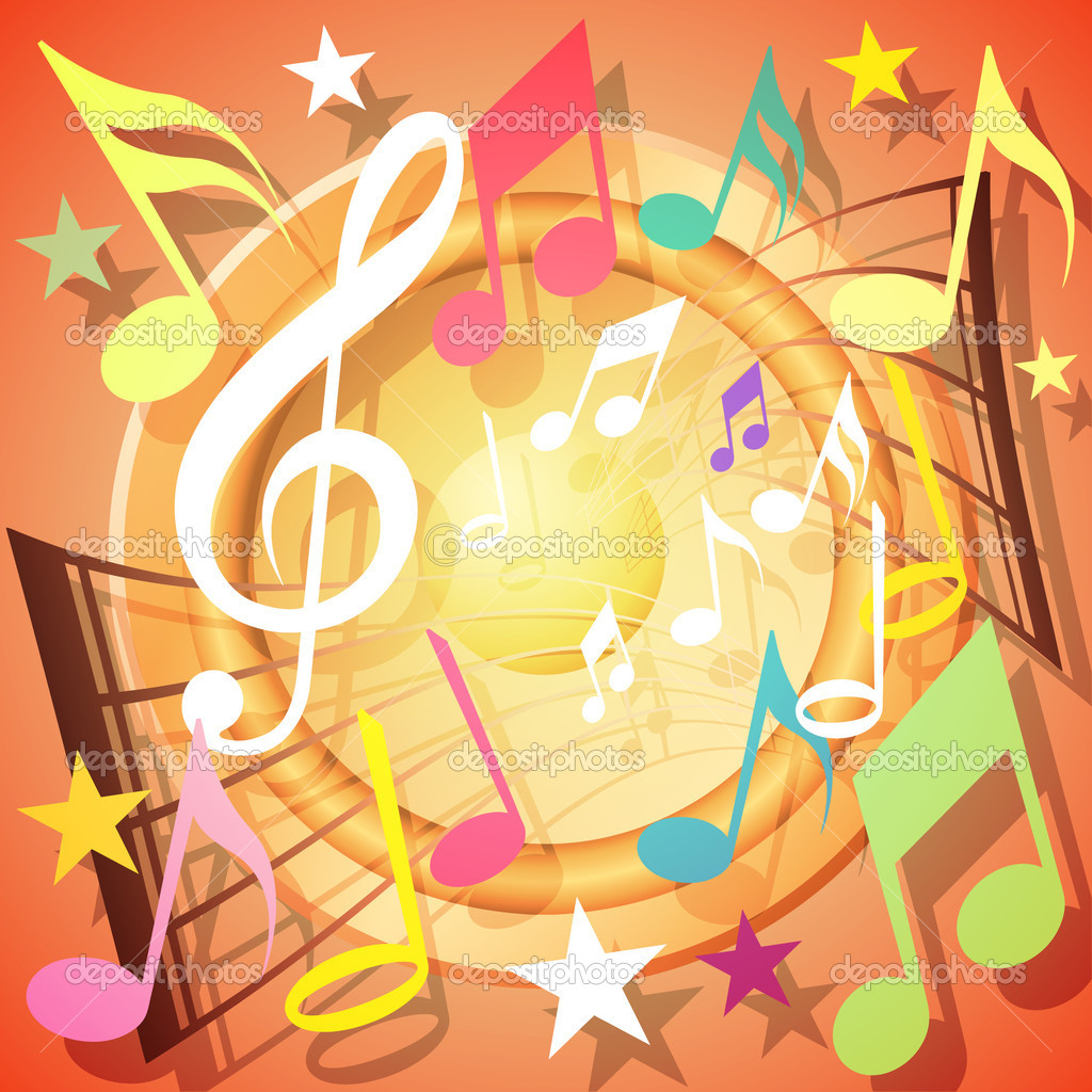 A Colorful Musical Notes Background — Stock Vector #6751574