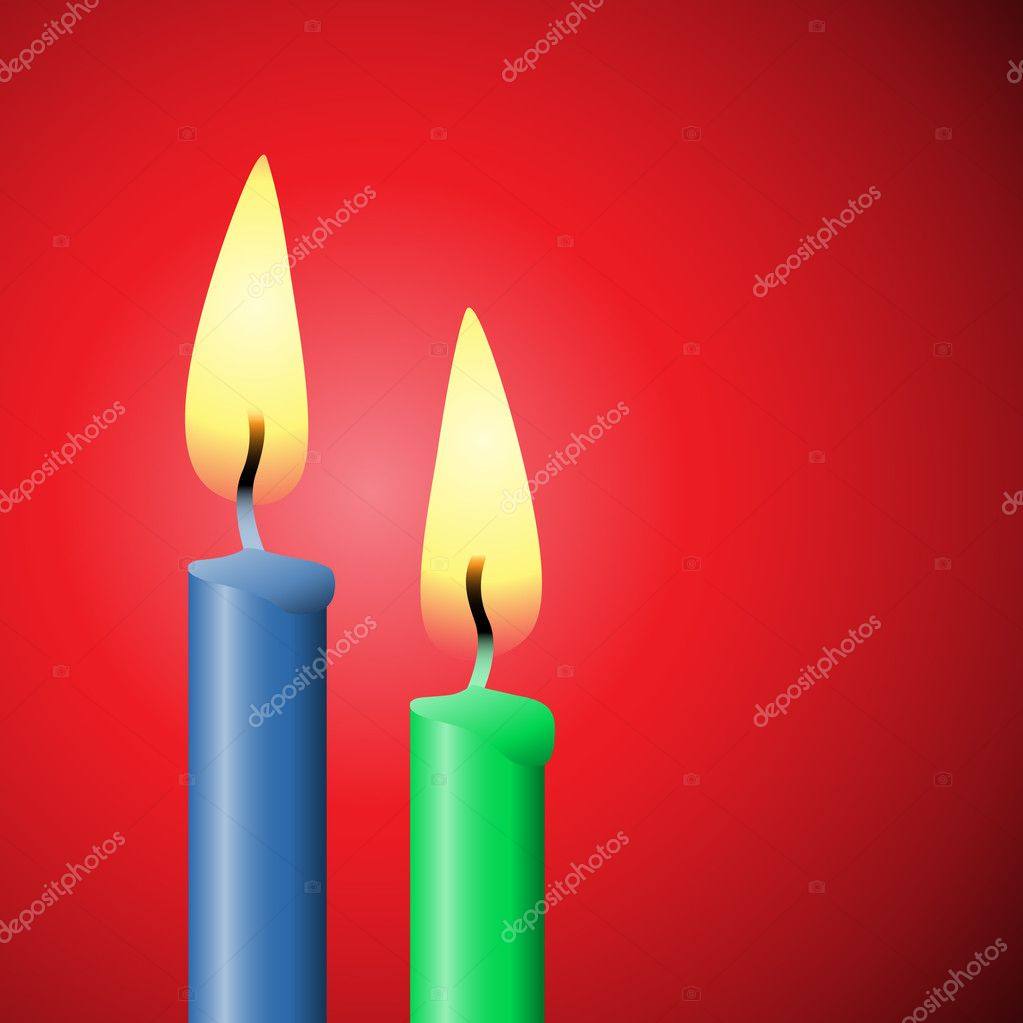 Two Burning Candles on Red Background — Stock Vector #6751580