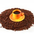 Сoffee cup and coffee grain - Stock Photo