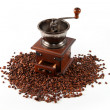 Coffee mill  with coffee beans - Stock Photo