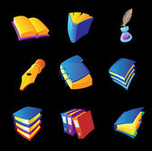 Icons for books and writing — 图库矢量图片