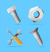 Iconos para tuercas y tornillos — Vector de stock