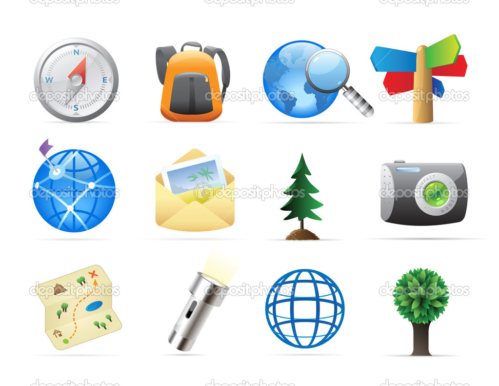 Icons for tourism and backpacking. Vector illustration. — Stock Vector #6932182