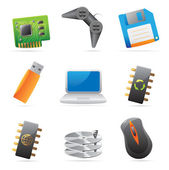 Icons for computer and computer parts — Stock Vector