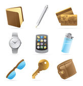 Icons for personal belongings — Stock Vector