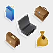 Sticker icon set for bags — Stock Vector