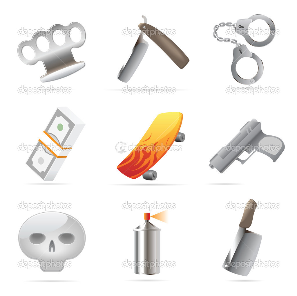 Icons for crime. Vector illustration.  Stock Vector #7317479