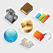 Sticker icon set for business metaphors — Stock Vector