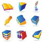 Icons for books — Stock Vector