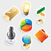 Sticker icon set voor business — Stockvector