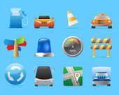 Icons for cars and roads — Stock Vector