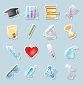 Sticker pictogrammen voor wetenschap en onderwijs — Stockvector