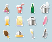 стикер иконки для продуктов питания и напитков — Cтоковый вектор