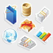 Sticker icon set for retail — Stock Vector