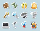 Sticker icons for personal belongings — Stockvector