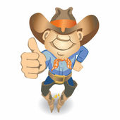 Thumbs Up Cowboy (illustration) — Vetor de Stock