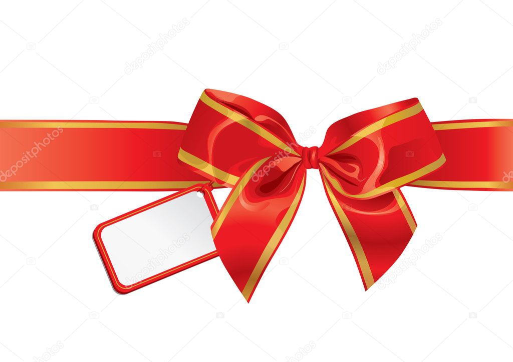 Gift Bow With Empty Card For Your Text — Stock Vector #6959561