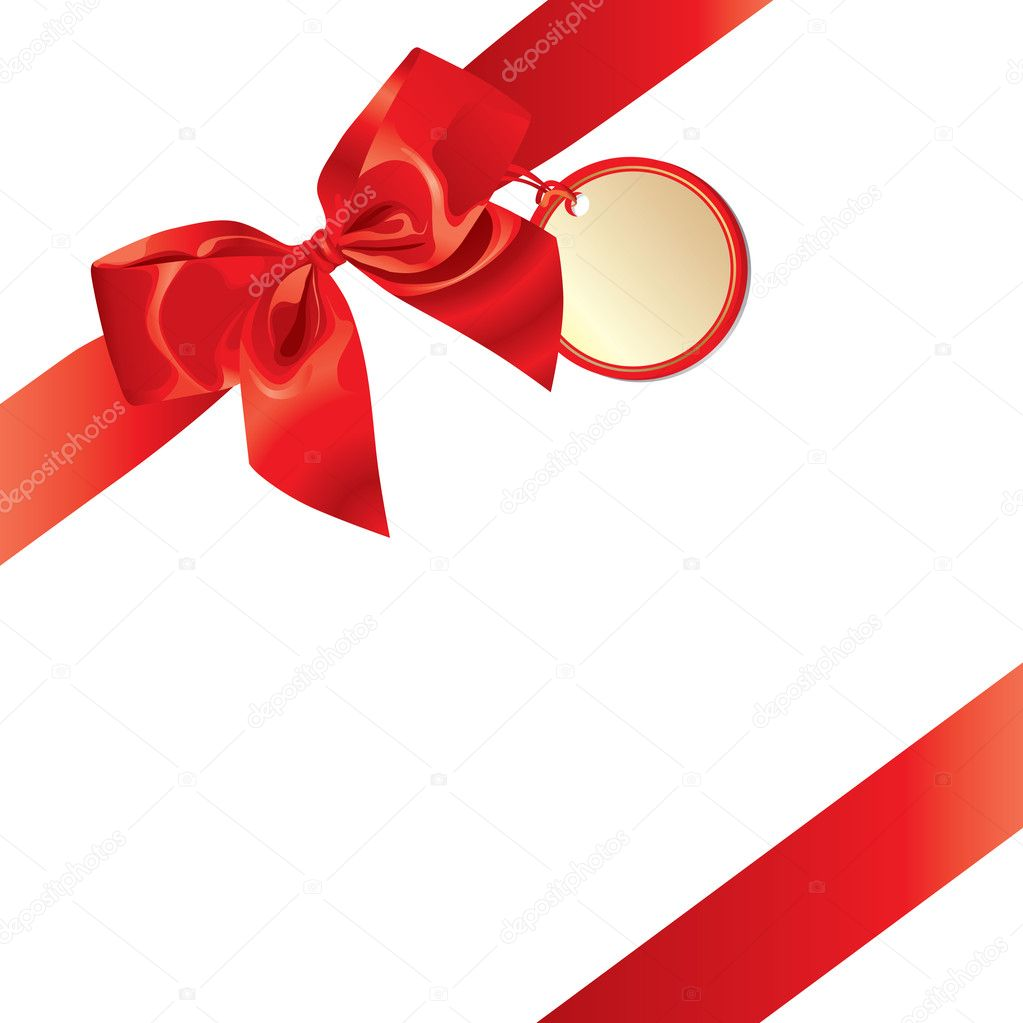 Gift Bow With Empty Card For Your Text  Stock Vector #6959647