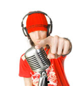 DJ with Microphone — Stock Photo
