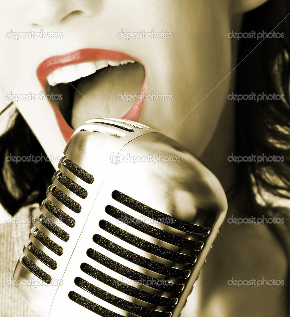 Girl Singing In Retro Microphone  Stock Photo #6962291