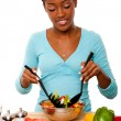 Health Conscious - Tossing Salad - Stock Photo