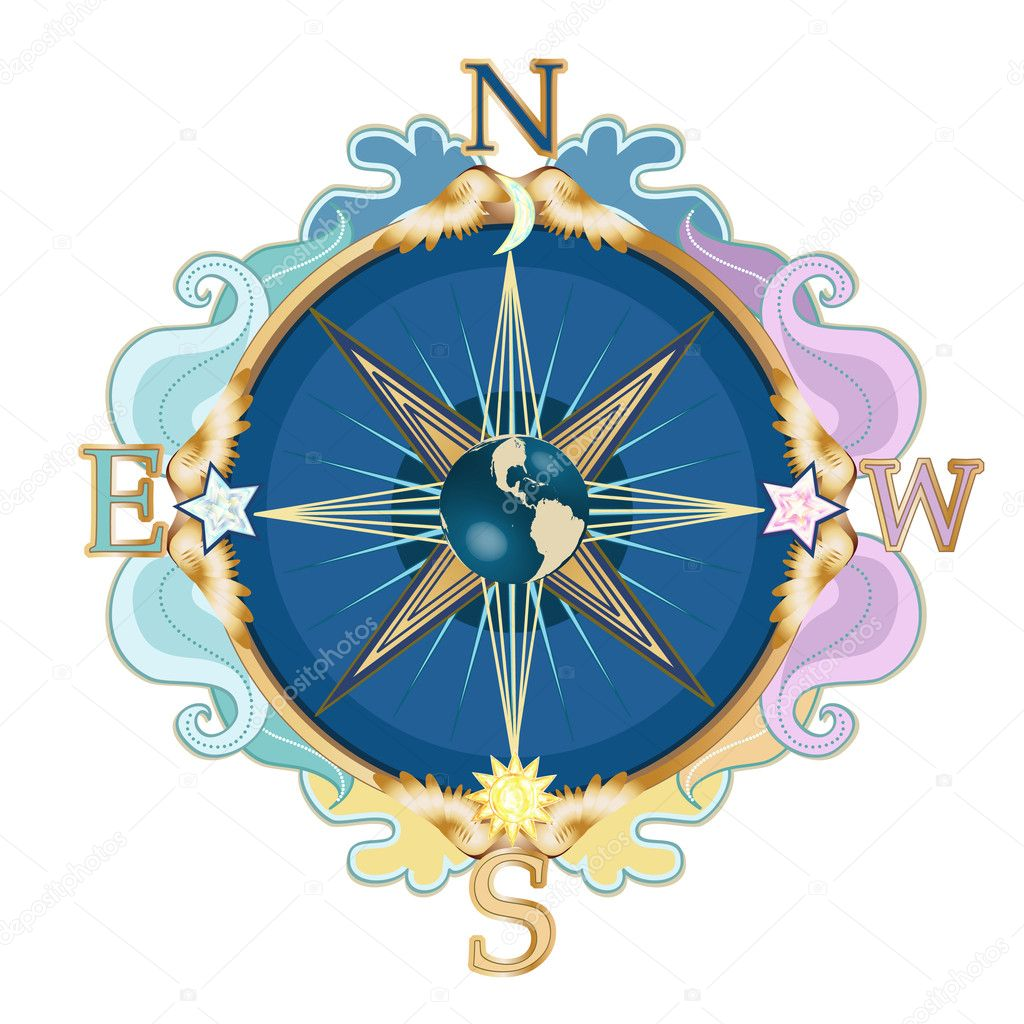 Beautiful styled wind rose, symbol of travels.  — Stock Vector #6748308