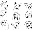 Dog faces — Stock Vector