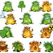 Eco-monsters set — Stock Vector