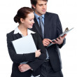 Happy business man and business woman working together - Stock Photo
