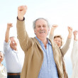 Royalty-Free Stock Photo: Celebration - Group of old friends rejoicing success