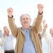 Royalty-Free Stock Photo: Victory - Group of old with raised hand