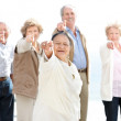 Royalty-Free Stock Photo: Portrait of a group of old friends pointing at you
