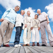 Royalty-Free Stock Photo: Group of old friends standing on the wooden plank