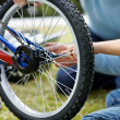 Royalty-Free Stock Photo: Two repairing a bicycle in a park