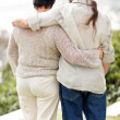 Royalty-Free Stock Photo: Rear view of a loving senior couple standing in a park