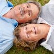 Royalty-Free Stock Photo: Portrait of lovely old couple lying on grass