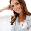 Happy young female model smiling - Stock Photo