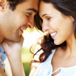 Closeup portrait of smiling young couple in love - Stock Photo