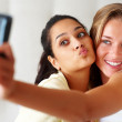 Self photography - Young girls holding cellphone - Stock Photo