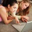 Royalty-Free Stock Photo: Beautiful young girls working together on laptop