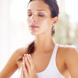 Woman doing simple and quick stress reduction meditation - Foto de Stock