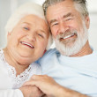 Royalty-Free Stock Photo: Closeup of a smiling senior couple holding each others hand