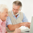 Smiling senior woman with a happy mature man pointing at laptop - Stock Photo